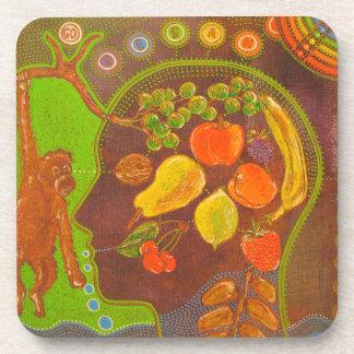 Vegan fruits monkey coaster