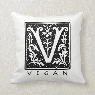 Vegan Gothic V Square Black and White Throw Pillow