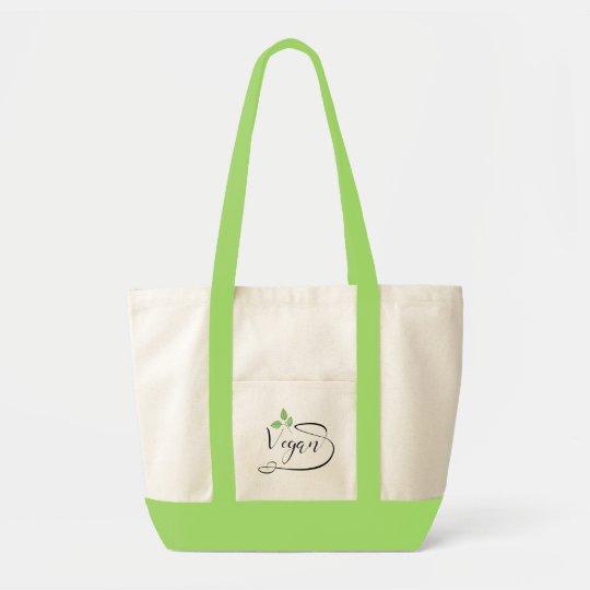 Vegan Green Leaves Quote - Vegetarian, Organic Tote Bag