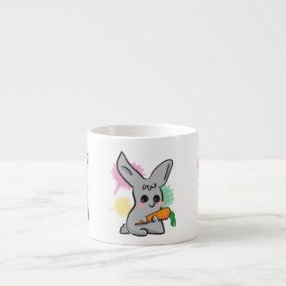 Vegan grey cute bunny with carrot espresso cup