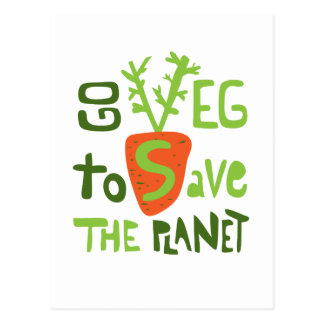 Vegan Hand Written Slogan With Carrot Postcard
