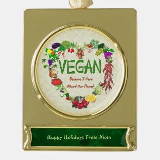 Vegan Heart Gold Plated Banner Ornament