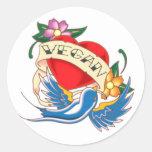 Vegan Heart Tattoo Classic Round Sticker