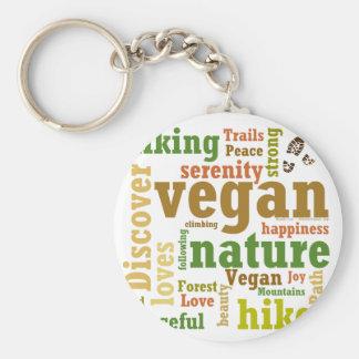 Vegan Hiker Hiking Word Cloud Key Ring