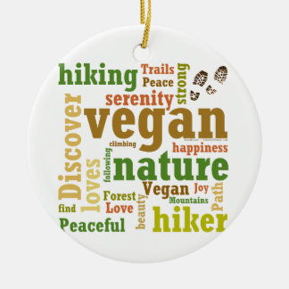 Vegan Hiker Hiking Word Cloud Round Ceramic Decoration