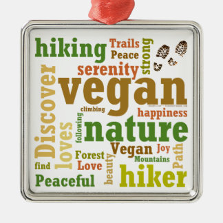 Vegan Hiker Hiking Word Cloud Silver-Colored Square Decoration