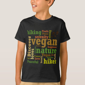 Vegan Hiker Hiking Word Cloud T-Shirt