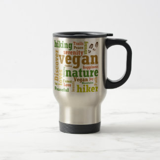 Vegan Hiker Hiking Word Cloud Travel Mug
