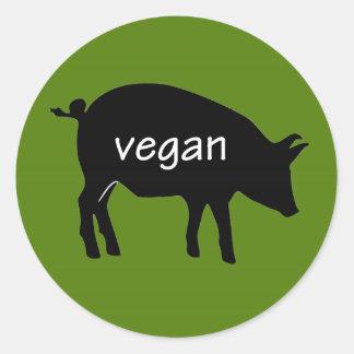Vegan (in a pig design) classic round sticker