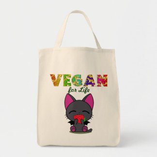 Vegan Kitty Organic Cotton Grocery Tote Grocery Tote Bag