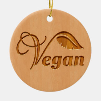 Vegan logo carved in wood effect ceramic ornament