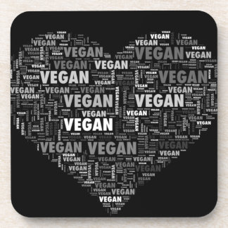 Vegan love heart design coaster