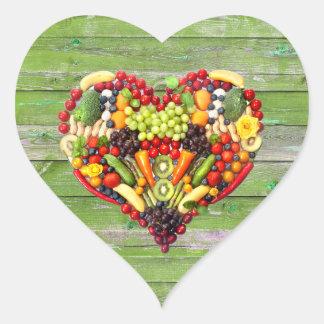 VEGAN LOVE -  your Heart Green Wood Heart Sticker
