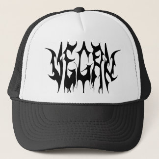 Vegan metal logo, white appare trucker hat
