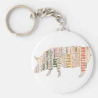 Vegan mosaic basic round button key ring