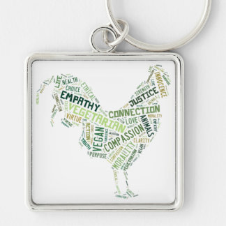 Vegan Mosaic Silver-Colored Square Key Ring