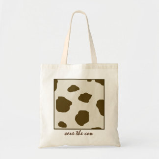 Vegan Save The Cow Brown Skin Spots Budget Tote Bag