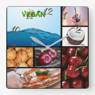 Vegan store square wall clock