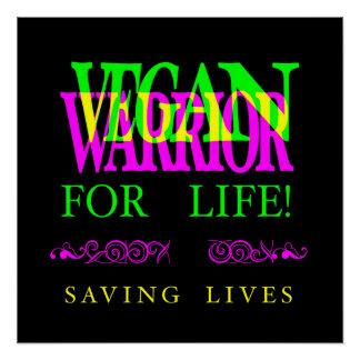 VEGAN WARRIOR FOR LIFE. POSTER