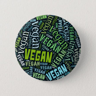 """Vegan"" Word-Cloud Mosaic 6 Cm Round Badge"