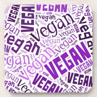 """""""Vegan"""" Word-Cloud Mosaic Drink Coasters"""