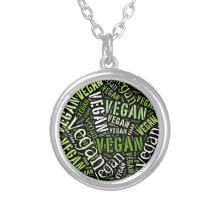 """""""Vegan"""" Word-Cloud Mosaic Silver Plated Necklace"""