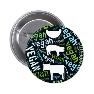 """Vegan"" Word-Cloud Mosaic with Pig, Cow & Hen 6 Cm Round Badge"