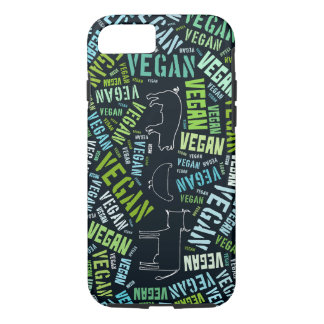 Vegan word cloud surrounding a cow, pig and a chic iPhone 7 case