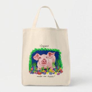 Vegans make me happy Grocery Tote Bag