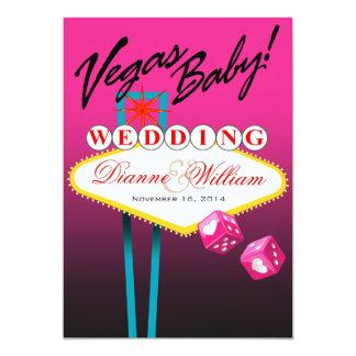 Vegas Baby! Save the Date fuschia Custom Invite