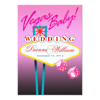 Vegas Baby! Wedding Save the Date pink 13 Cm X 18 Cm Invitation Card