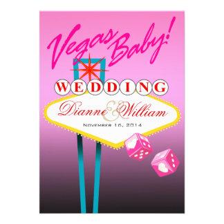Vegas Baby Wedding Save the Date pink Custom Invites