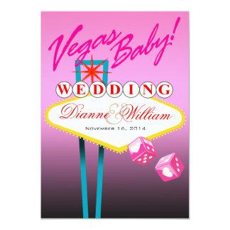 Vegas Baby! Wedding Save the Date pink Custom Invites