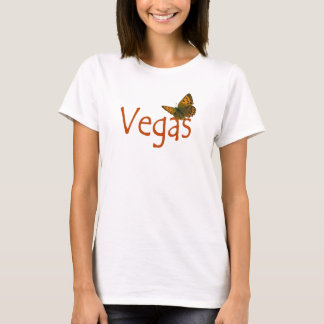 Vegas Butterfly Ladies Fitted Spaghetti T-Shirt
