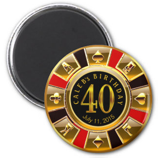Vegas Casino Chip 40th Birthday | red gold black 6 Cm Round Magnet