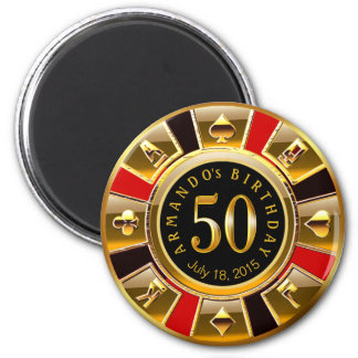 Vegas Casino Chip 50th Birthday | red gold black 6 Cm Round Magnet