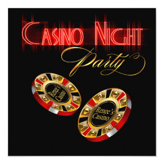 Vegas Casino Night ASK ME 2 PUT YOUR NAME ON CHIPS 13 Cm X 13 Cm Square Invitation Card