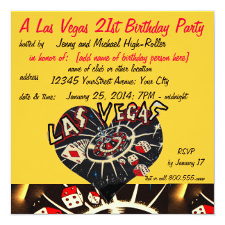 Vegas Casino Theme Twenty-first Birthday Party Card