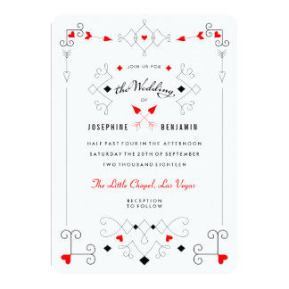 Vegas Cupid's Hearts Diamonds Wedding Invitation