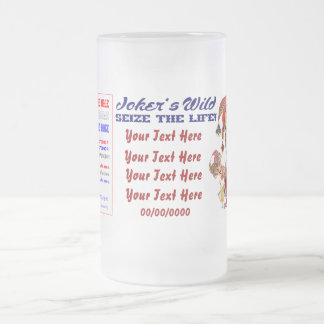 Vegas Joker's Wild View About Design below 16 Oz Frosted Glass Beer Mug