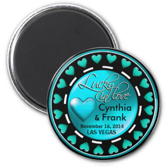 Vegas Lucky in Love Hearts Casino Chip teal Magnet