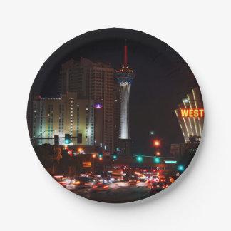 Vegas Paradise Road Paper Plate