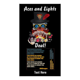 """Vegas Party Any Event Aces and Eights 34""""X60"""" Poster"""