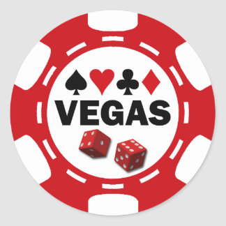 VEGAS POKER CHIP CLASSIC ROUND STICKER