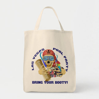 Vegas Pool Pirate Bring your Booty Grocery Tote Bag