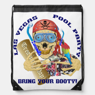 Vegas Pool Pirate IMPORTANT Read About Design Drawstring Bag