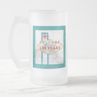 vegas sign grunge frosted glass beer mug