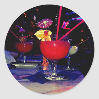 Vegas Tropical Cocktail Funky Classic Round Sticker