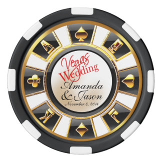 Vegas Wedding Casino white black gold Poker Chips