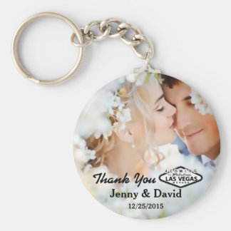 Vegas Wedding Personalized Key Ring Wedding Favor Basic Round Button Key Ring